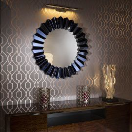Vibrant Modern Round Designer Wall Mounted Feature Mirror Blue 100cm