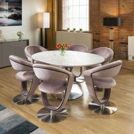 Round White Italian Ceramic Dining Table Extends +6 Velvet Pink Chairs
