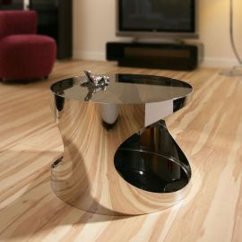 Modern Round Side/Lamp Table/Tables Black Glass Stainless Steel 204