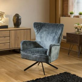 Comfy Armchair Swivel Winged Chair Feature Vintage Velvet Petrol New