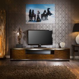 TV Television Cabinet Entertainment Unit Golden Teak Gloss Steel 2.2m