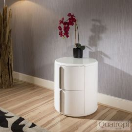 Quatropi Round Bedside Table / Nightstand / Lamp Table in White Gloss