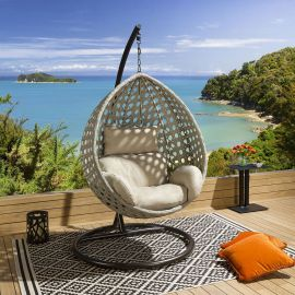 Luxury Extra Large Outdoor Hanging Pod Chair Grey Rope Cover Quatropi
