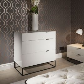 Sleek Chest of Drawers / Cabinet / Dresser 3 Drawers White Gloss 1406