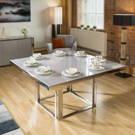 Quatropi Sophie Modern Grey Glass Top Square Dining Table 1.5mtr