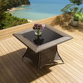 Luxury Garden / Outdoor Square Dining Table in Brown 1000mm Glass Top Crane