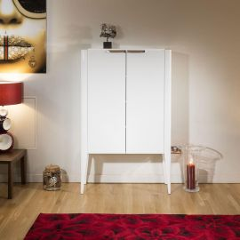 Quatropi Modern Tall Cabinet / Sideboard in White Gloss ExDisplay