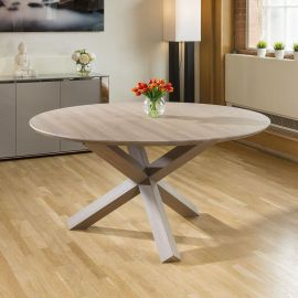 Huge 1600mm Grey Oiled Circular Dining Table Solid Oak Top and X Legs