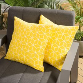 Pair of Luxury 450mm Outdoor Scatter Cushion Yellow Geometric