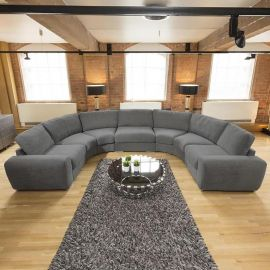 Massive Curved U Shape Corner Cinema Sofa Grey Cassino Ash