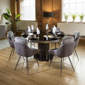 Round Smoked Oak Dining Table Set With 6 Comfy Grey Fabric Chairs