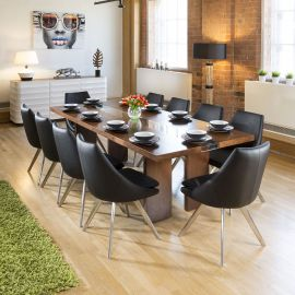 Large Walnut & Glass Dining Table 2400 x 1100 + 10 Black Modern chairs