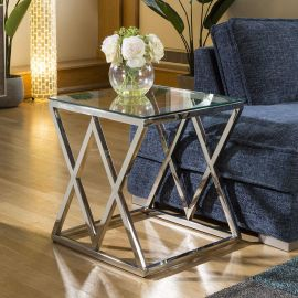 Designer Side Table Stainless Steel Glass Top 55x55x60H Quatropi