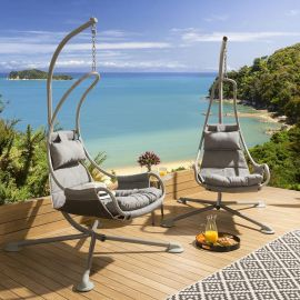 Pair of Luxury Hanging Lounger Chair Grey X Frame Grey Cushions