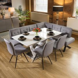 Stunning 6 Seat White Dining Set With Grey Fabric Corner Bench & 3 Chairs