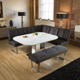 Corner Dining Set White Glass Extending Table + Grey Booth Bench Group