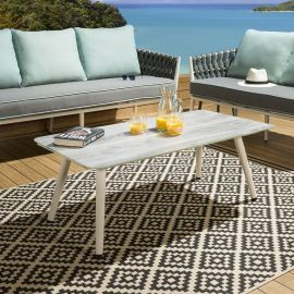 Outdoor Grey Etched Wood Glass Top Coffee Table White Aluminium.