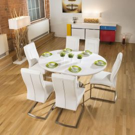 Stunning Dining Set White Gloss Round Extending Table +6 Padded Chairs