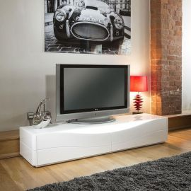 Luxury Ultra  Modern TV Stand / Cabinet / Unit White Gloss Curved LEDs