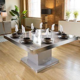 Magnificent Large Square Dining Table in Grey Gloss with Chrome Trim