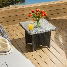 Luxury Outdoor Garden Square End Coffee Table Grey Rattan Clear Glass
