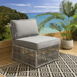Quatropi 3-seater Garden Sofa in Grey Rope Rattan and Cushions S1 Cole