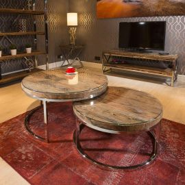 Stunning Round Pair of Coffee Tables Reclaimed Hardwood 92 + 76c Glass