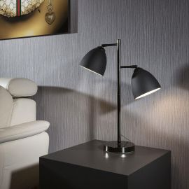 Elegant Black Metal side Table/Desk Lamp/Light Bedside 2 x shades Oslo
