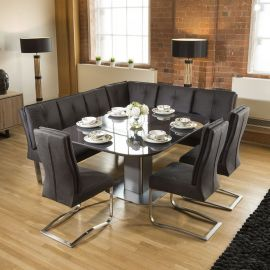 Corner Dining Set Grey Glass Extending Table + 3 Grey Chairs & Bench
