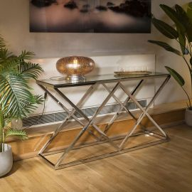 Designer Console Table Stainless Steel Glass Top 150x40x80H Quatropi