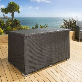 Luxury Outdoor Garden Black Rattan Storage Box / Cupboard / Chest