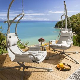 Pair of Luxury Hanging Lounger Chair Grey X Frame Silver Cushions