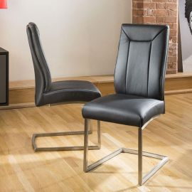 Set of 2 Large Super Comfy Modern Dining Chairs Black Faux leather 110