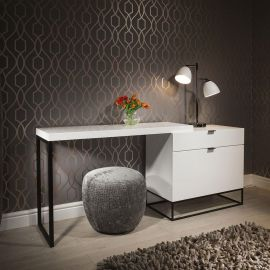 Modern Designer Desk / Dressing Table / Dresser White Gloss 200cm 1501