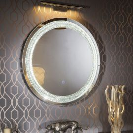 Premium Round Designer Wall Mounted Feature Mirror LED Lighting 100cm