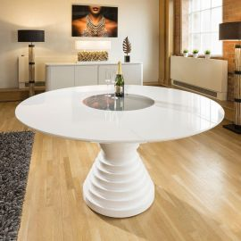 Stunning Large Round White Gloss Dining Table Glass Lazy Susan 1.6m