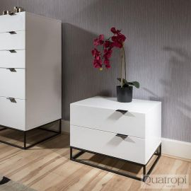 Quatropi Bedside Table / Nightstand / Lamp Table White Gloss 2 Drawer