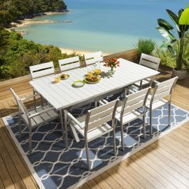 Luxury Aluminium Garden Dining Set White Table 8 Chairs Cover 028GR