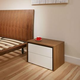 Bedside Table/Tables/Nightstand/ Night Stands Walnut / Cream Gloss 104