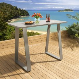 Luxury Outdoor Tall Bar Table 150x70cm Grey Aluminium Garden Freddy