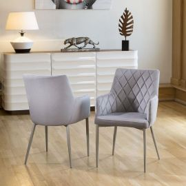 Set of 2 Quatropi Luxury Carver Chairs Ice Grey Fabric Quilted Ch06
