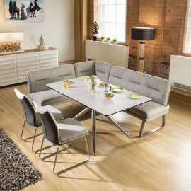 Luxury 7 seater Grey Booth Right Hand Corner L Bench Chair Dining Set1