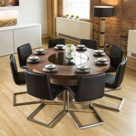 Large Walnut Round 1.6m Dining Table + 8 x Black Low Back Chairs