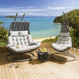 Outdoor Garden Hanging Chair Set Grey Rattan / Silver Cushions + Table