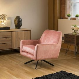On Trend Swivel Armchair Pink Vintage Velvet Occasional Chair New