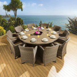 Rattan Garden Dining Set Round Table + 10 Large Carver Chairs Brown 2m