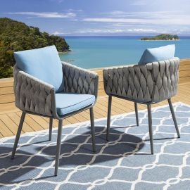Set of 2 Outdoor Garden Luxury Dining Chairs Rope Design Blue
