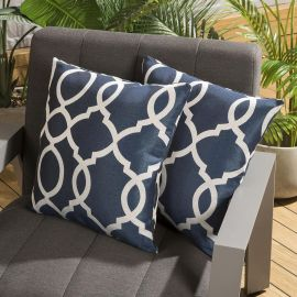 Pair of Luxury 450mm Outdoor Scatter Cushion Blue Laticia