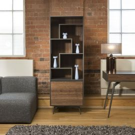 Quatropi Tembie Tall Bookcase / Display Cabinet Rich Walnut / Grey