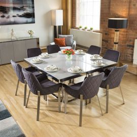 Quatropi Modern 1500 Square Glass Dining Table +8x Grey Carver Chairs
